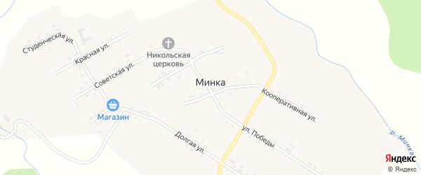 Широкая улица на карте села Минки с номерами домов