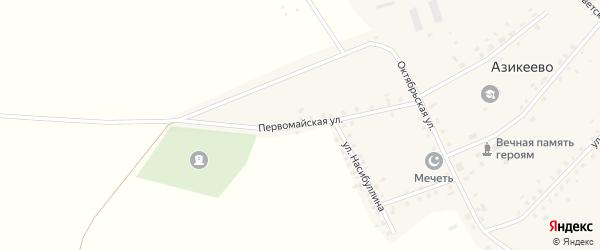 Первомайская улица на карте деревни Азикеево с номерами домов