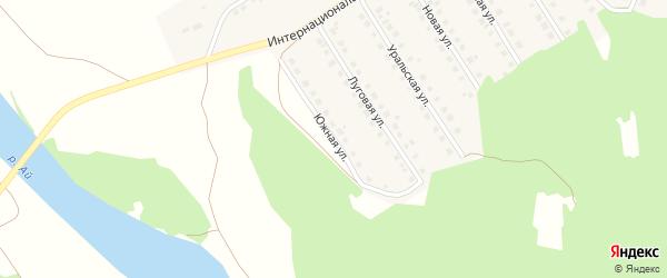 Южная улица на карте Большеустьикинское села с номерами домов