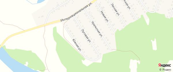 Луговая улица на карте Большеустьикинское села с номерами домов