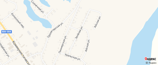 Зеленая улица на карте села Месягутово с номерами домов