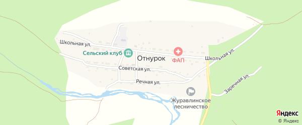 Клубная улица на карте села Отнурка с номерами домов