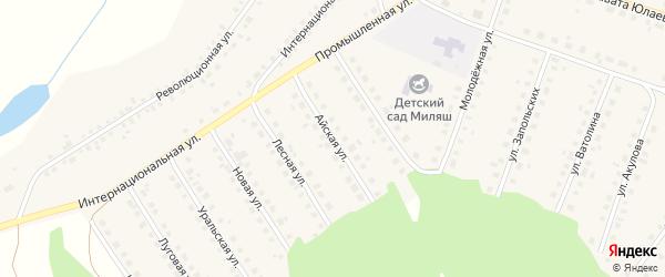 Айская улица на карте Большеустьикинское села с номерами домов