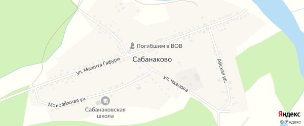 Родниковая улица на карте деревни Сабанаково с номерами домов