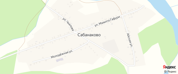 Улица Мажита Гафури на карте деревни Сабанаково с номерами домов