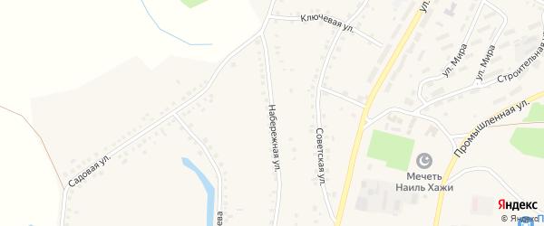 Набережная улица на карте Большеустьикинское села с номерами домов