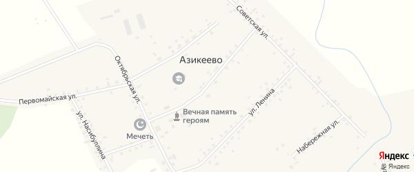 Школьная улица на карте деревни Азикеево с номерами домов