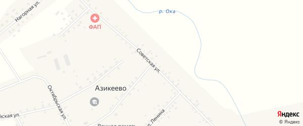 Советская улица на карте деревни Азикеево с номерами домов