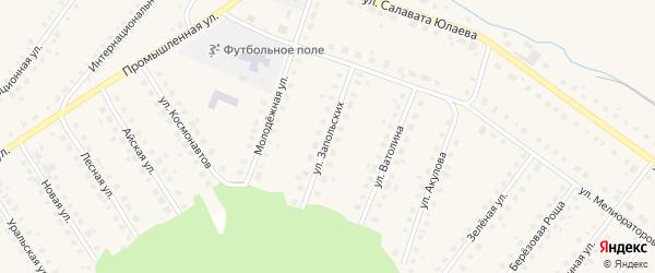 Улица Запольских на карте Большеустьикинское села с номерами домов