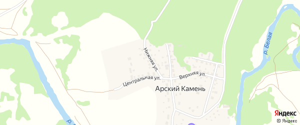 Нижняя улица на карте села Арского Камня с номерами домов