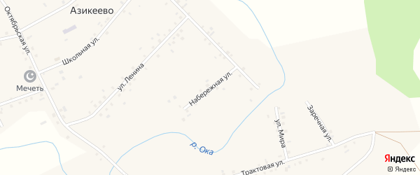 Набережная улица на карте деревни Азикеево с номерами домов