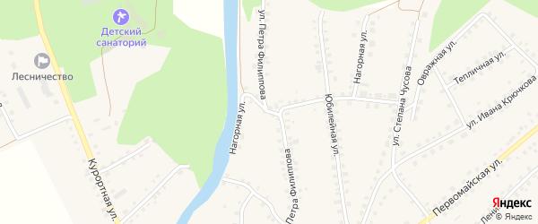 Улица Петра Филиппова на карте Большеустьикинское села с номерами домов