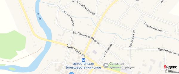 Улица Память Коммуны на карте Большеустьикинское села с номерами домов