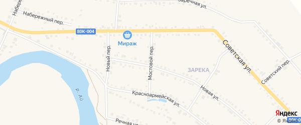Мостовой переулок на карте села Месягутово с номерами домов