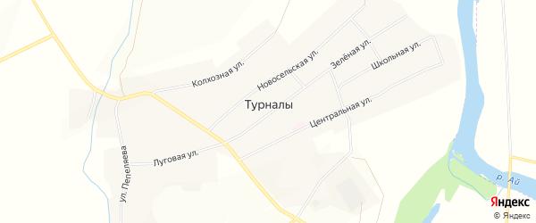 Карта села Турналы в Башкортостане с улицами и номерами домов