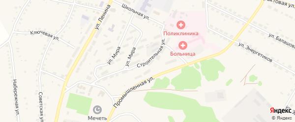 Строительная улица на карте Большеустьикинское села с номерами домов