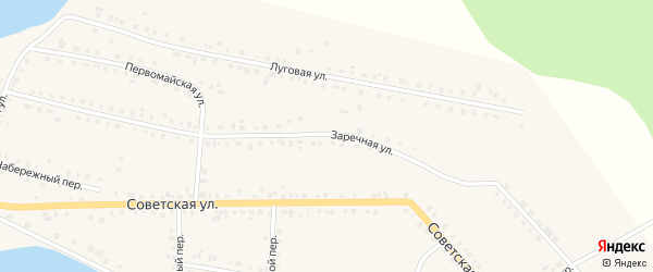 Заречная улица на карте села Месягутово с номерами домов