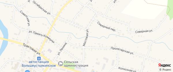 Мостовая улица на карте Большеустьикинское села с номерами домов