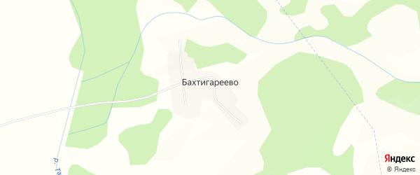 Карта деревни Бахтигареево в Башкортостане с улицами и номерами домов