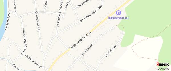 Первомайская улица на карте Большеустьикинское села с номерами домов