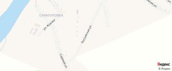 Российская улица на карте села Месягутово с номерами домов