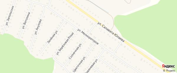 Улица Мелиораторов на карте Большеустьикинское села с номерами домов
