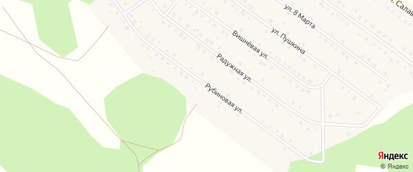 Рубиновая улица на карте Большеустьикинское села с номерами домов