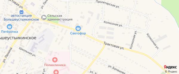Трактовая улица на карте Большеустьикинское села с номерами домов