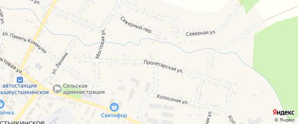 Пролетарская улица на карте Большеустьикинское села с номерами домов
