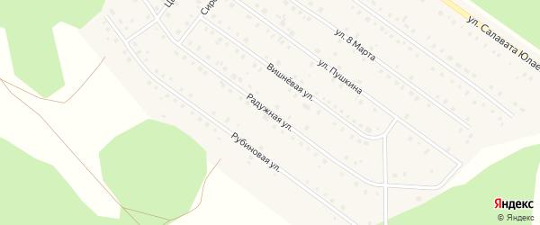 Радужная улица на карте Большеустьикинское села с номерами домов