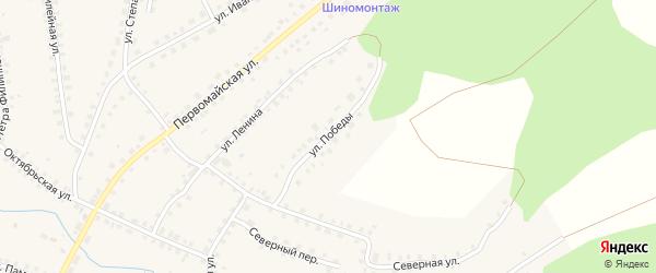 Улица Победы на карте Большеустьикинское села с номерами домов