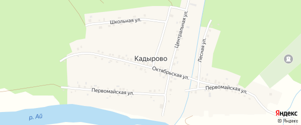 Речная улица на карте деревни Кадырово с номерами домов