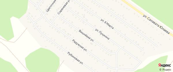 Вишневая улица на карте Большеустьикинское села с номерами домов