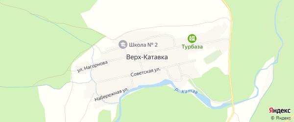 Карта села Верх-Катавка в Челябинской области с улицами и номерами домов