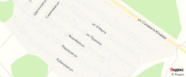 Улица Пушкина на карте Большеустьикинское села с номерами домов