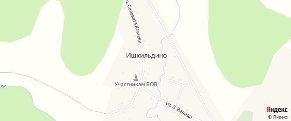 Улица Салавата Юлаева на карте деревни Ишкильдино с номерами домов