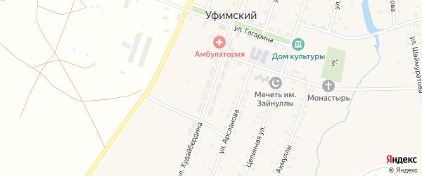 Улица Худайбердина на карте села Уфимского с номерами домов