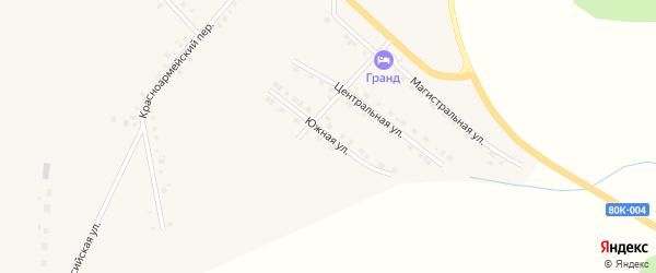 Южная улица на карте села Месягутово с номерами домов