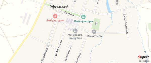 Целинная улица на карте села Уфимского с номерами домов