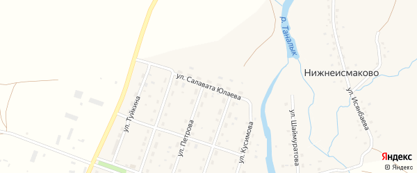 Улица Юлаева на карте деревни Нижнеисмаково с номерами домов