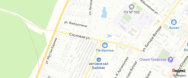 Сосновая улица на карте Баймака с номерами домов