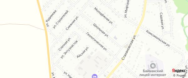 Геологическая улица на карте Баймака с номерами домов