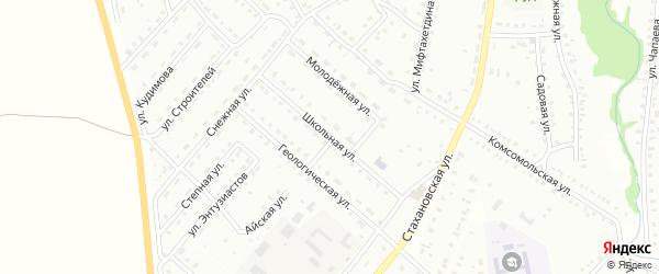 Школьная улица на карте Баймака с номерами домов