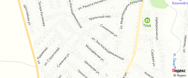 Улица З.Космодемьянской на карте Баймака с номерами домов