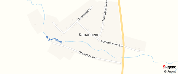 Школьная улица на карте деревни Каранаево с номерами домов