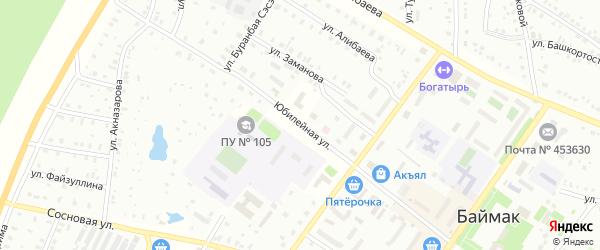 Юбилейная улица на карте Баймака с номерами домов