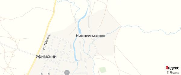 Карта деревни Нижнеисмаково в Башкортостане с улицами и номерами домов