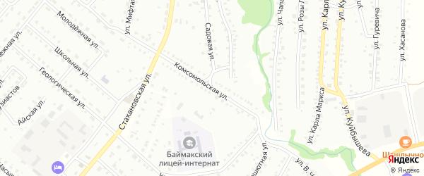 Комсомольская улица на карте Баймака с номерами домов