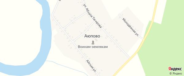 Молодежная улица на карте деревни Аюпово с номерами домов