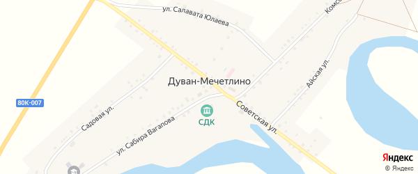 Советская улица на карте села Дуван-Мечетлино с номерами домов